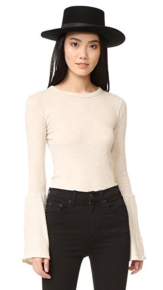 Enza Costa Bell Sleeve Crew Top