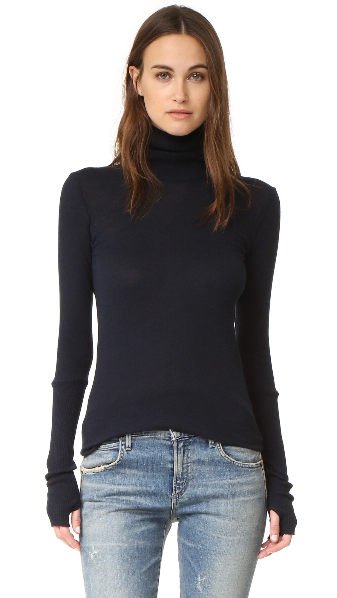 A super soft Enza Costa turtleneck with long ribbed cuffs and a raw hem. Long sleeves. Fabric: Fine knit. 85% cotton/15% cashmere. Hand wash. Made in the USA. Measurements Length: 28.25in / 72cm, from shoulder Measurements from size