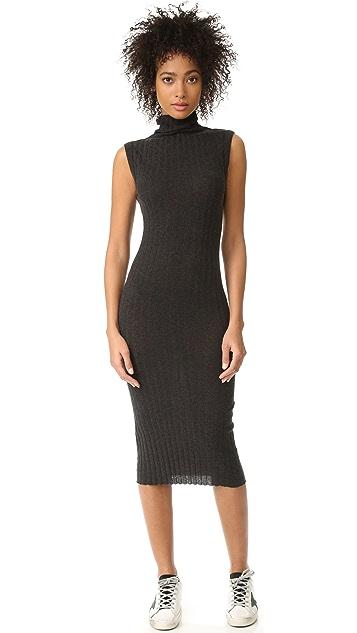 Enza Costa Ribbed Sleeveless Turtleneck Midi Dress