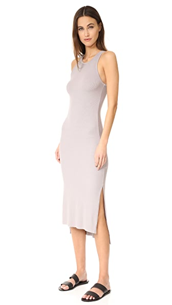 Enza Costa Rib Sleeveless Side Slit Midi Dress - Lunar Grey