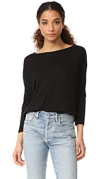 Enza Costa Drop Shoulder Open Neck Tee In Black
