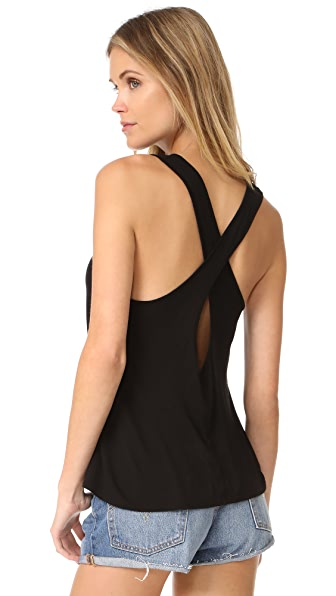 Enza Costa Twist Back Tank - Black