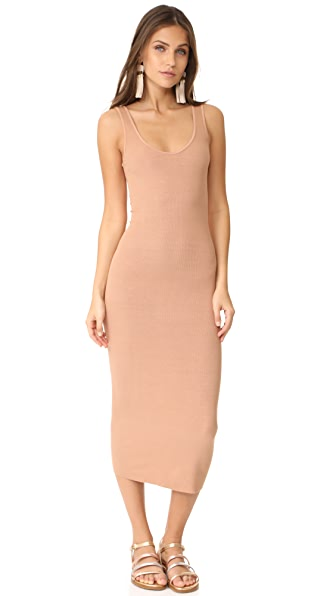 Enza Costa Ribbed Tank Dress In Camel