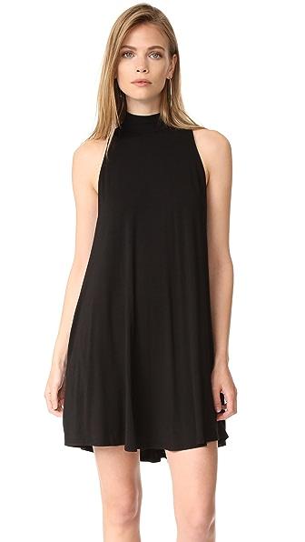 Enza Costa Mock Neck Mini Swing Dress In Black