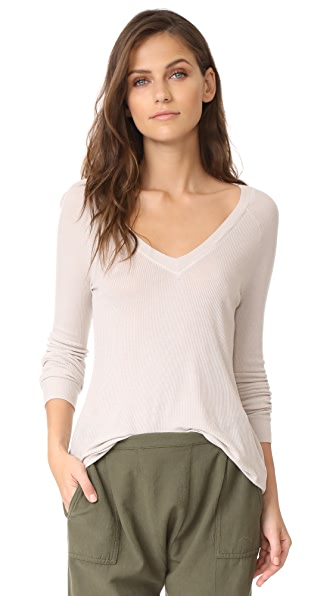 Enza Costa Ribbed Easy V Long Sleeve Tee