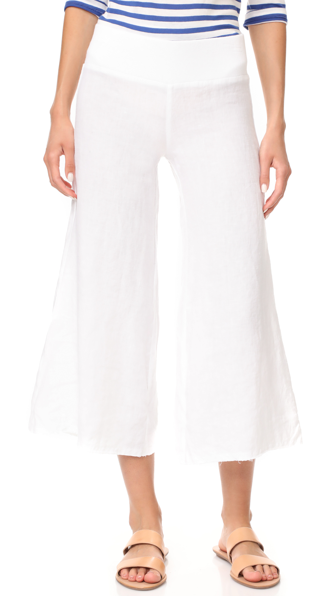 Enza Costa Cropped Wide Leg Linen Pants - White