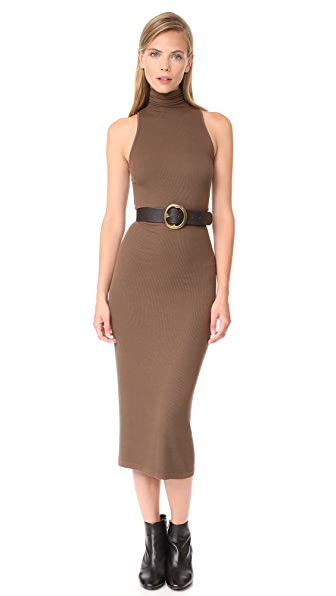Enza Costa Rib Sleeveless Turtleneck Midi Dress - Copper