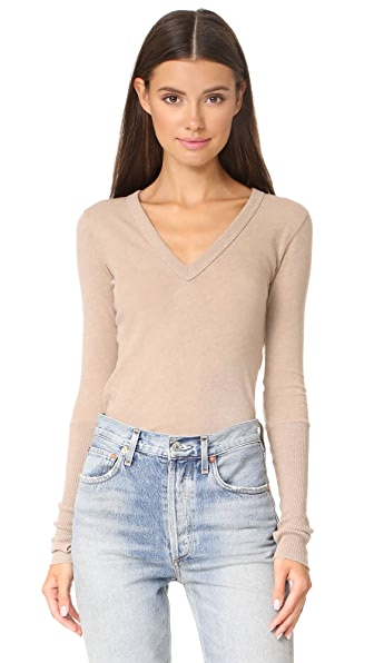 Enza Costa Cuffed V Neck Top - Khaki