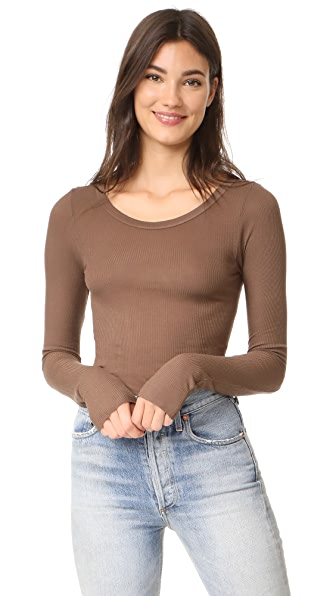 Enza Costa Long Sleeve Ribbed Top