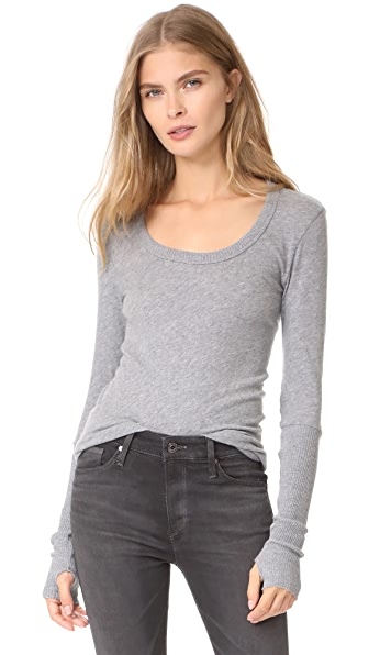 Enza Costa Cuffed Scoop Neck Top In Smoke