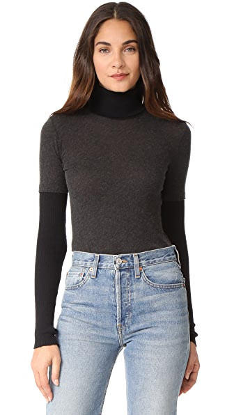 Enza Costa Cuffed Turtleneck - Charcoal/Black