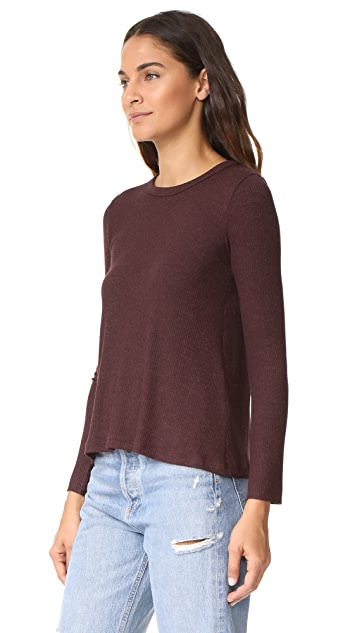 Enza Costa Ribbed Flare Top