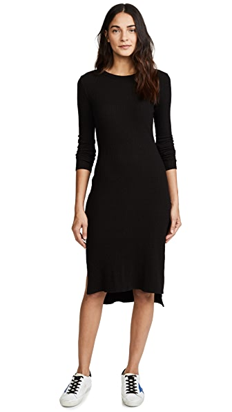 Enza Costa Ribbed Midi Dress In Faded Black