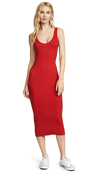 Enza Costa Rib Tank Dress In Iconic Red