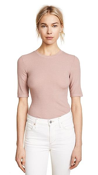 Enza Costa Rib Half Sleeve Pullover In Rose Petal