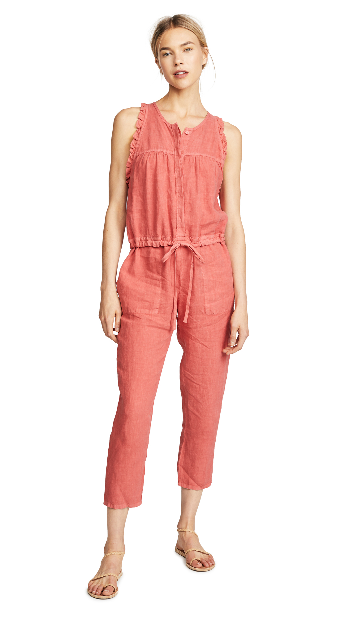 Enza Costa Sleeveless Ruffle Jumpsuit In Persimmon