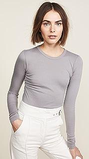 Enza Costa Эффектная футболка с округлым вырезом и длинными рукавами