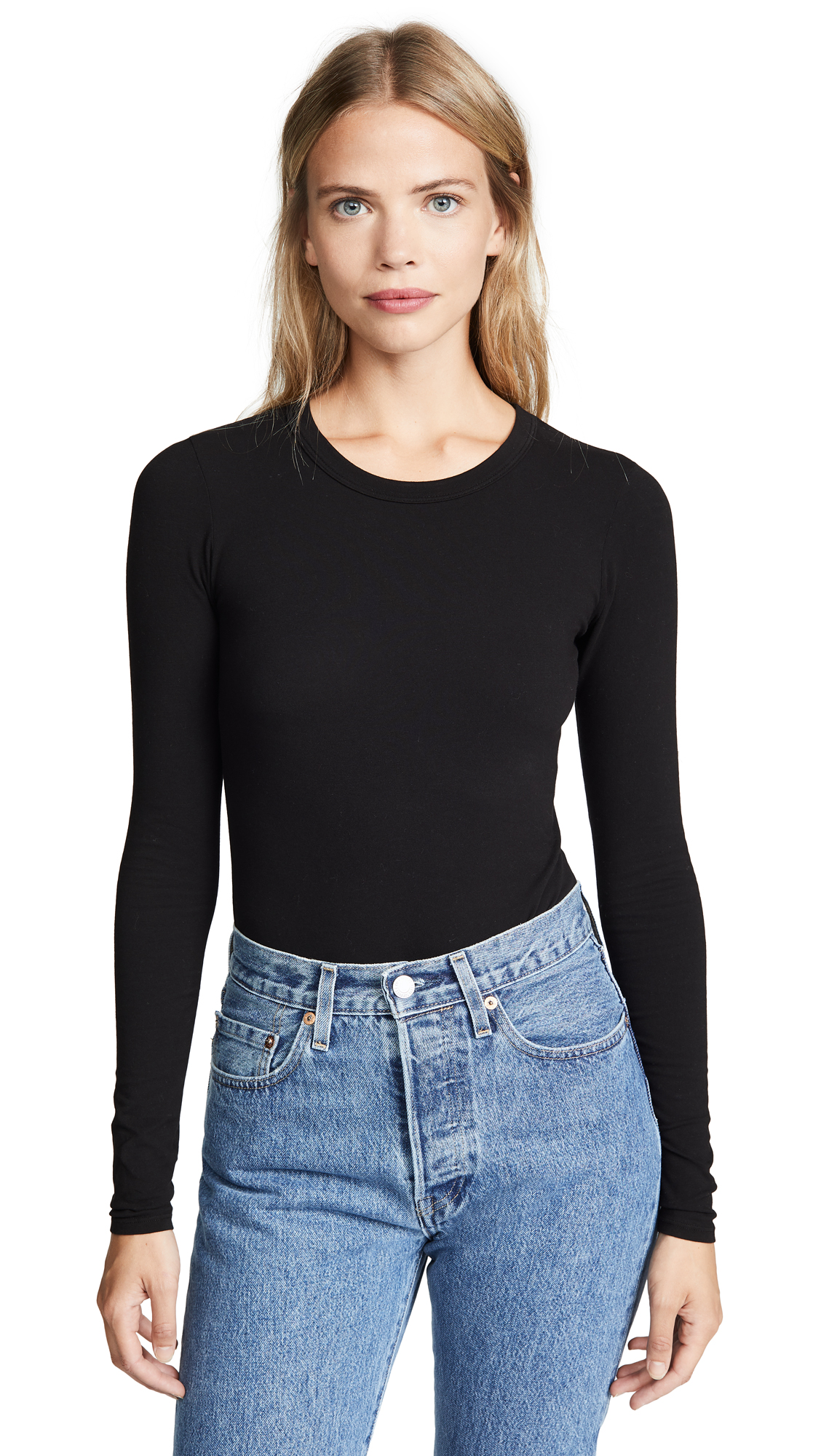 Enza Costa Long Sleeve Crew Bodysuit In Black