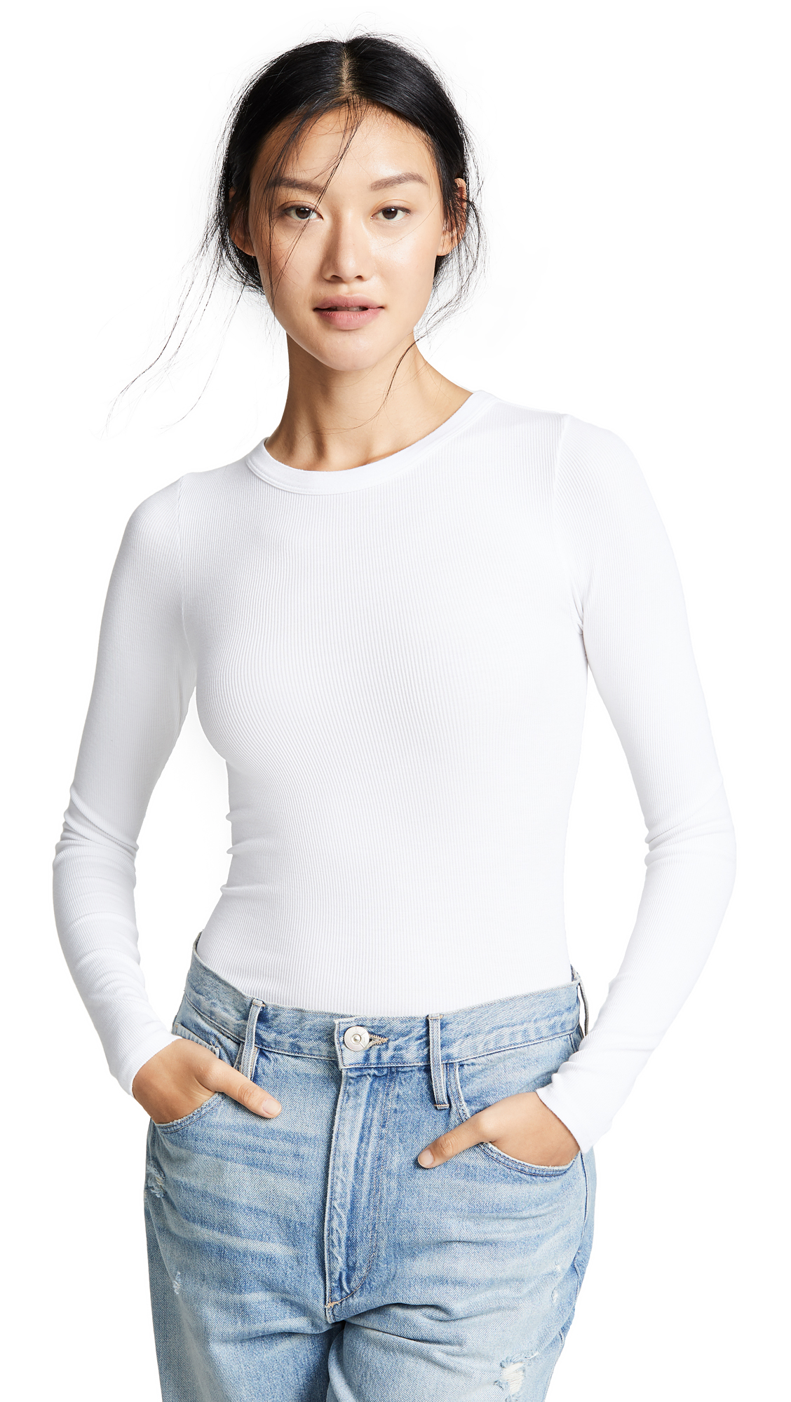 ENZA COSTA RIB FITTED CREW TEE