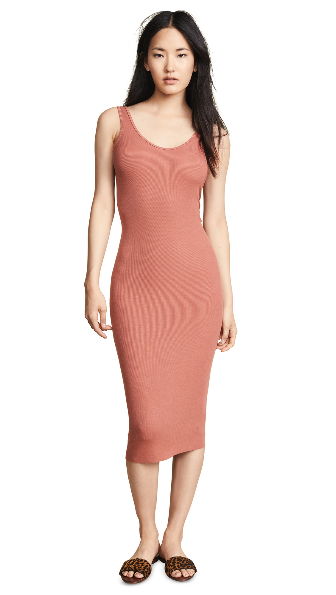 Enza Costa Rib Tank Midi Dress In Terracotta