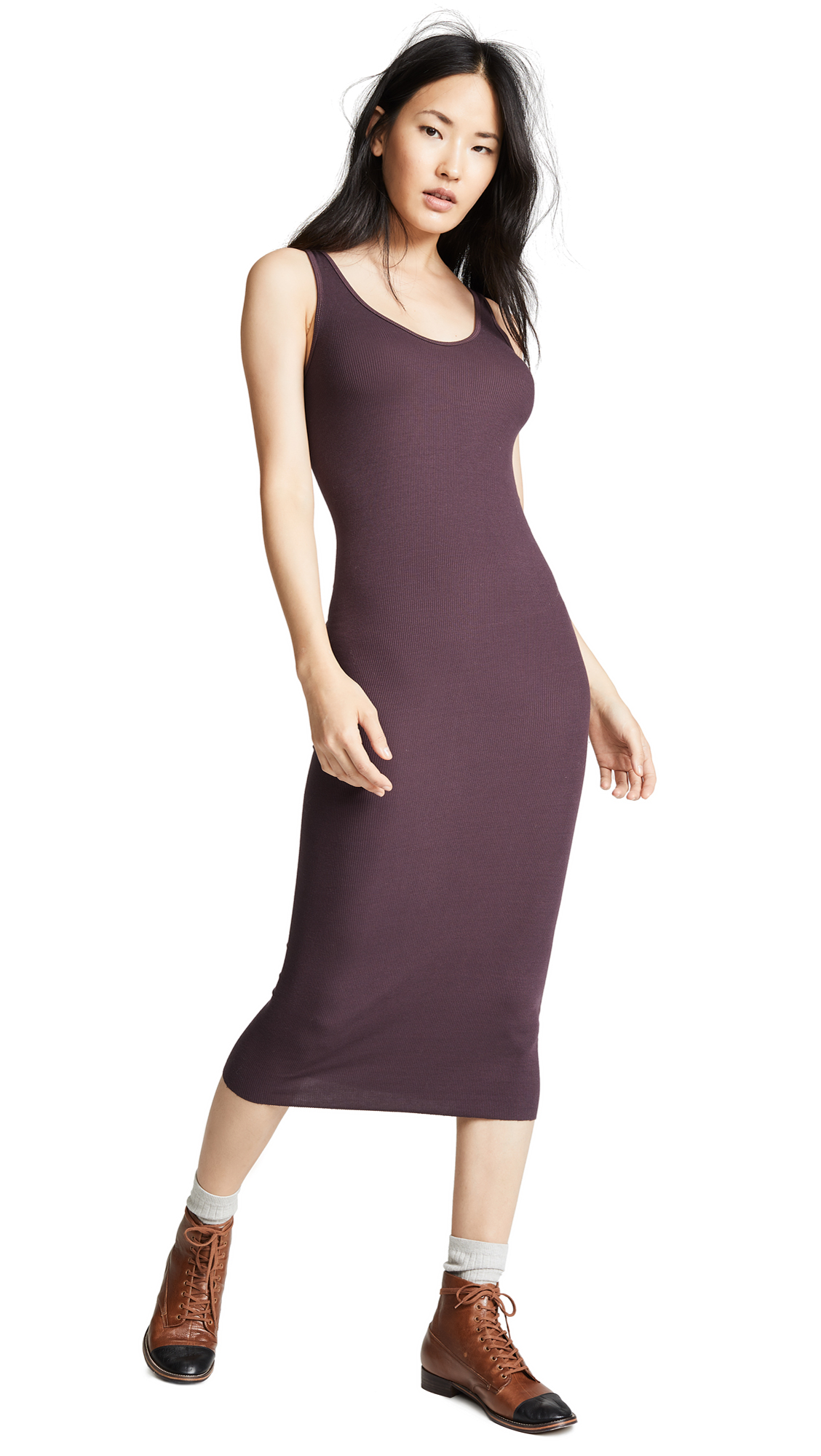 Enza Costa Ribbed Tank Midi Dress