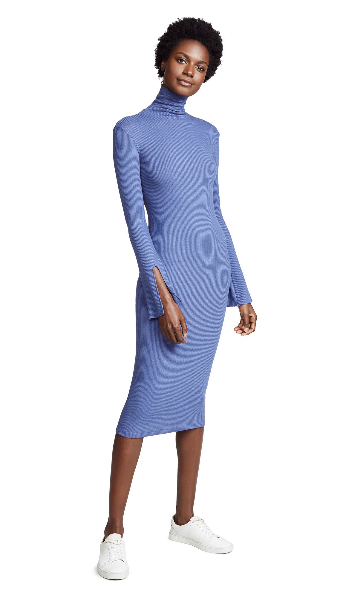 Enza Costa Ribbed Split Sleeve Midi Dress