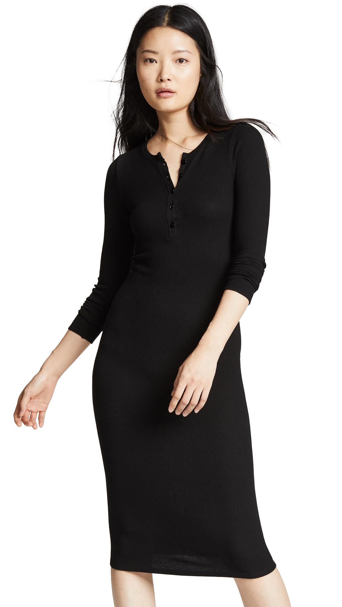 ENZA COSTA Thermal Long Sleeve Henley Midi Dress in Black