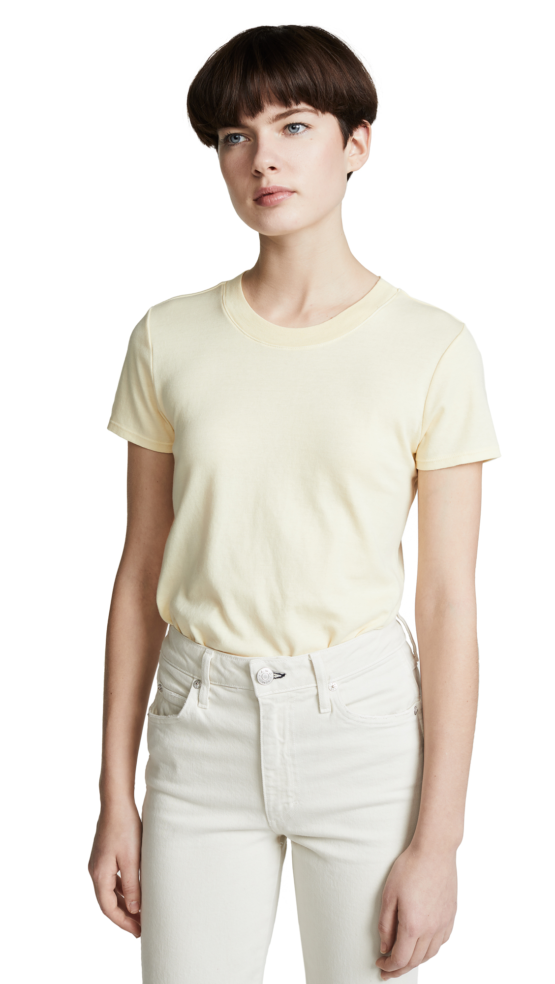 Enza Costa Classic Short Sleeve Tee - Pale Yellow