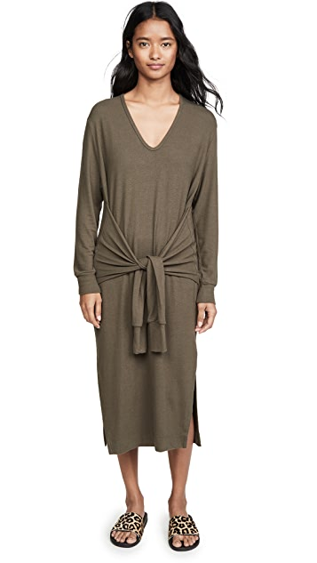 Enza Costa Peached Jersey Waist Tie Dress