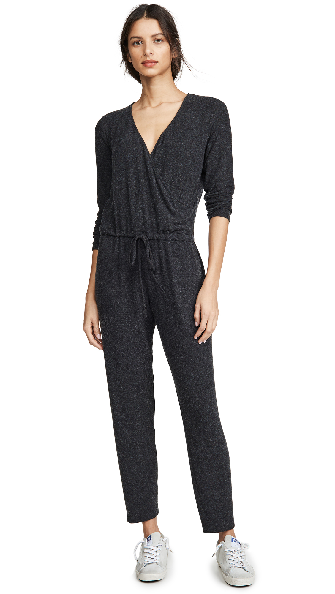 Buy Enza Costa online - photo of Enza Costa Peached Jersey Wrap Front Jumpsuit