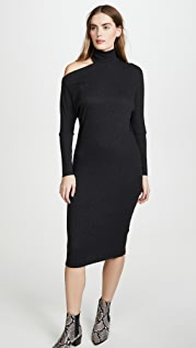 Enza Costa Heather Rib Exposed Shoulder Midi Dress