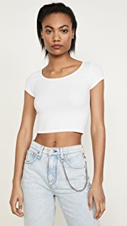 Enza Costa Шелковая укороченная футболка в рубчик с овальным вырезом
