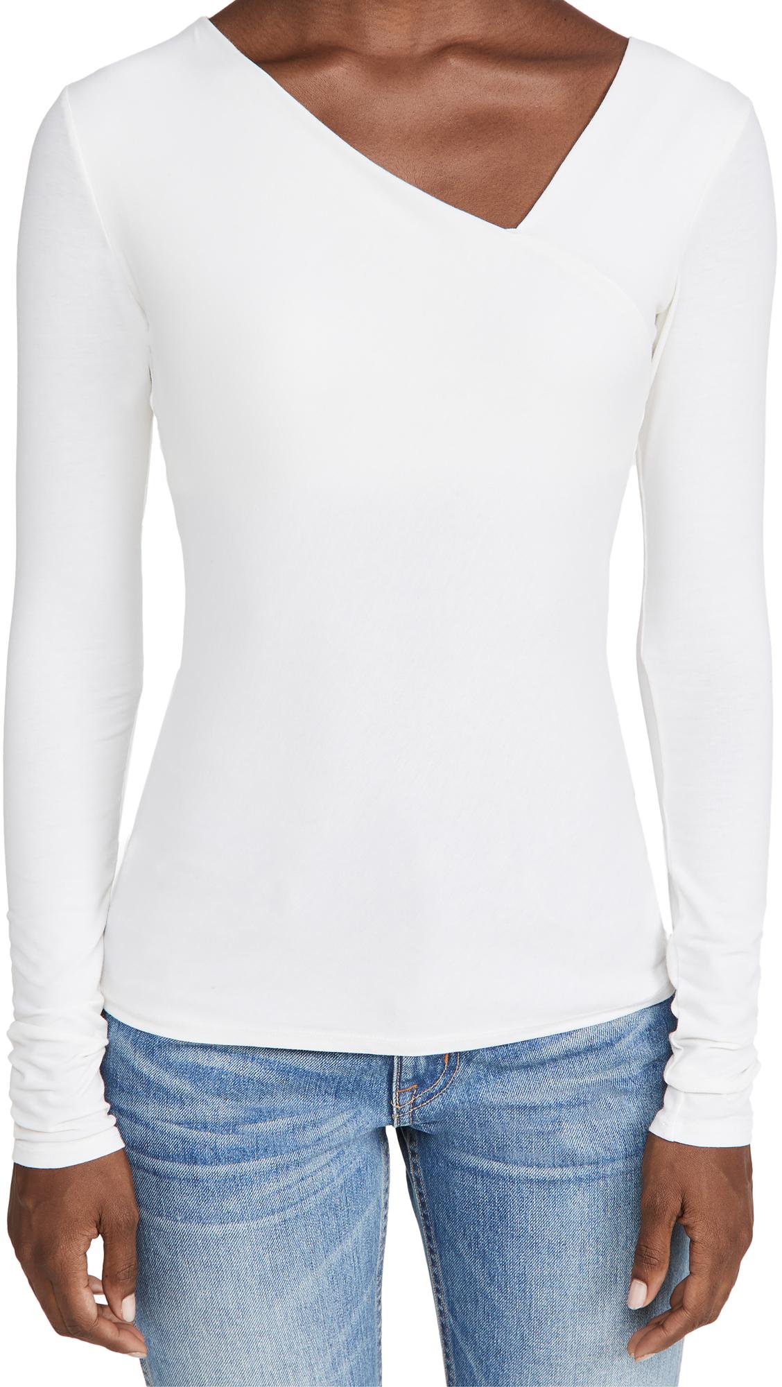 Enza Costa Brushed Pima Cotton Asymmetrical Neck Top