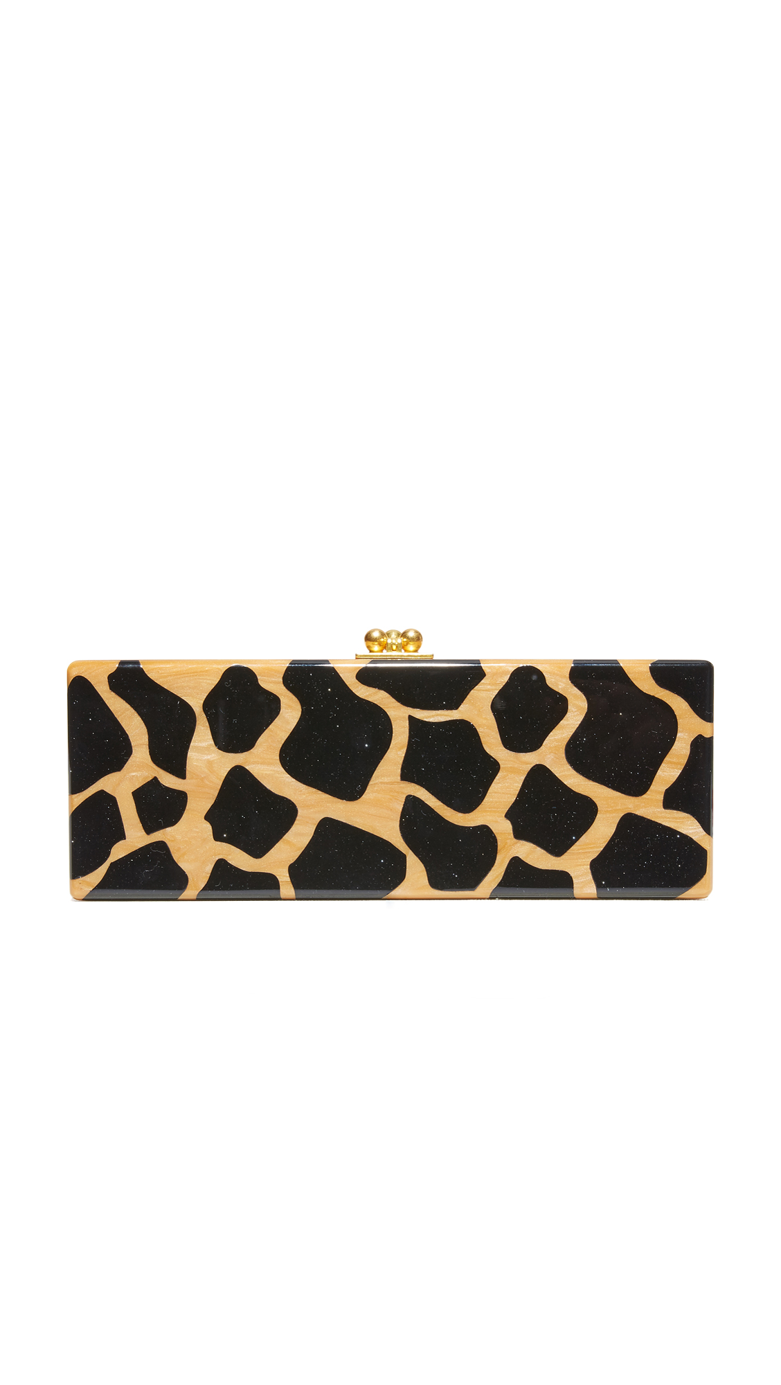 A sleek acrylic Edie Parker clutch with a swirling finish and a speckled giraffe spot motif. Kiss lock top. Unlined interior with mirror panel. Dust bag and cleaning cloth included. Fabric: Acrylic. Weight: 22oz / 0.62kg. Made