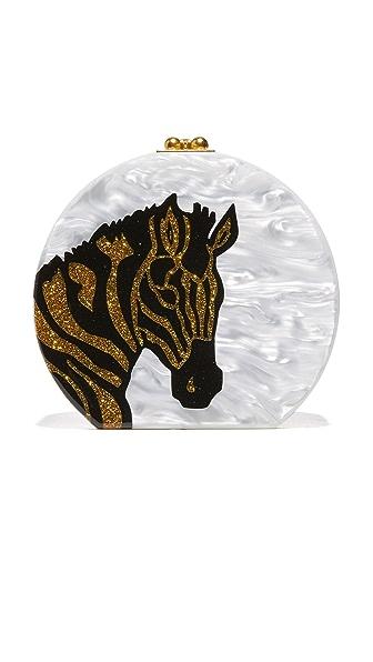 Edie Parker Oscar Zebra Head Bag - White