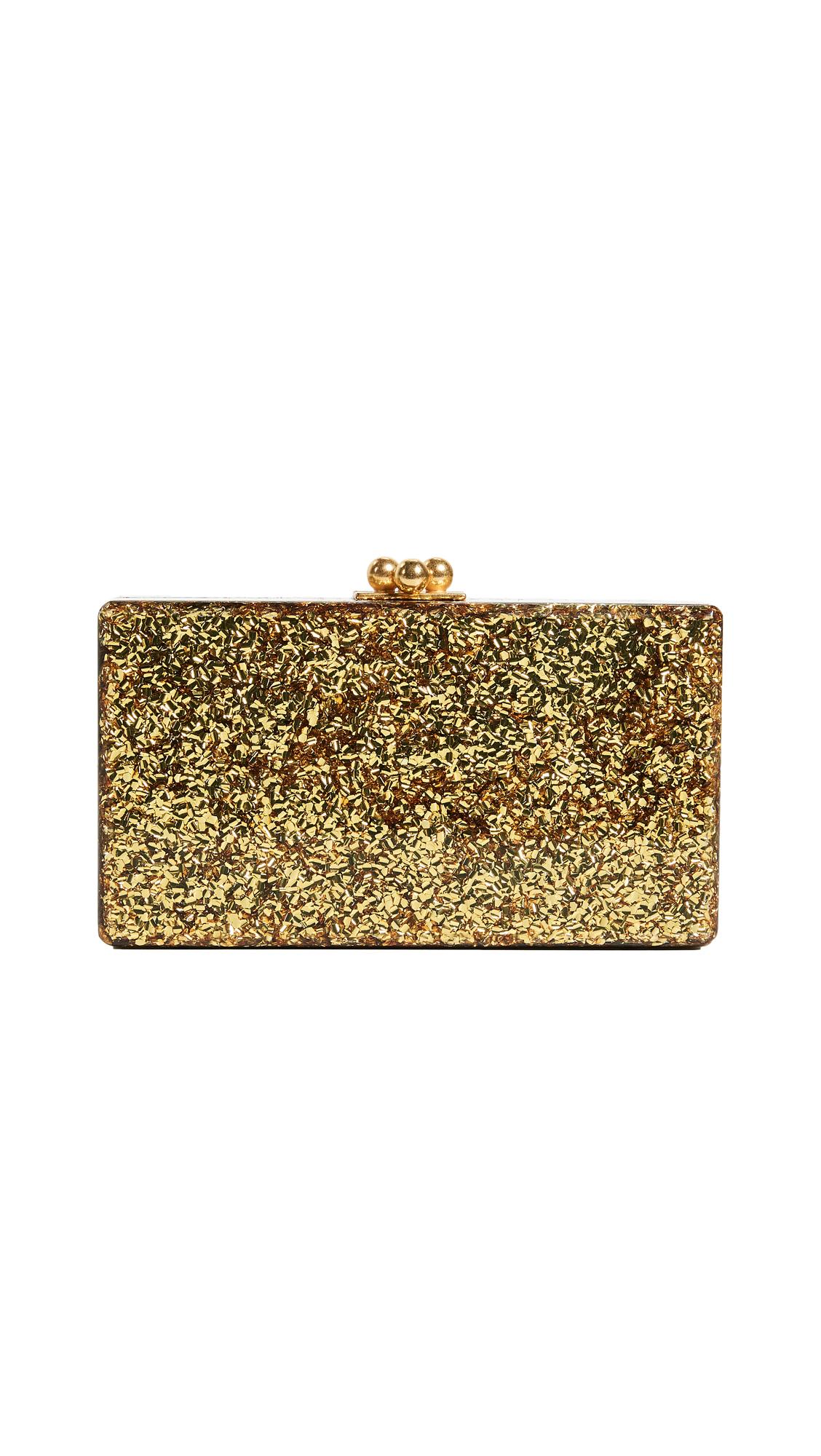 Edie Parker Jean Solid Clutch - Gold Confetti