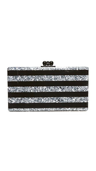 Edie Parker Jean Striped Clutch - Black/Silver Confetti
