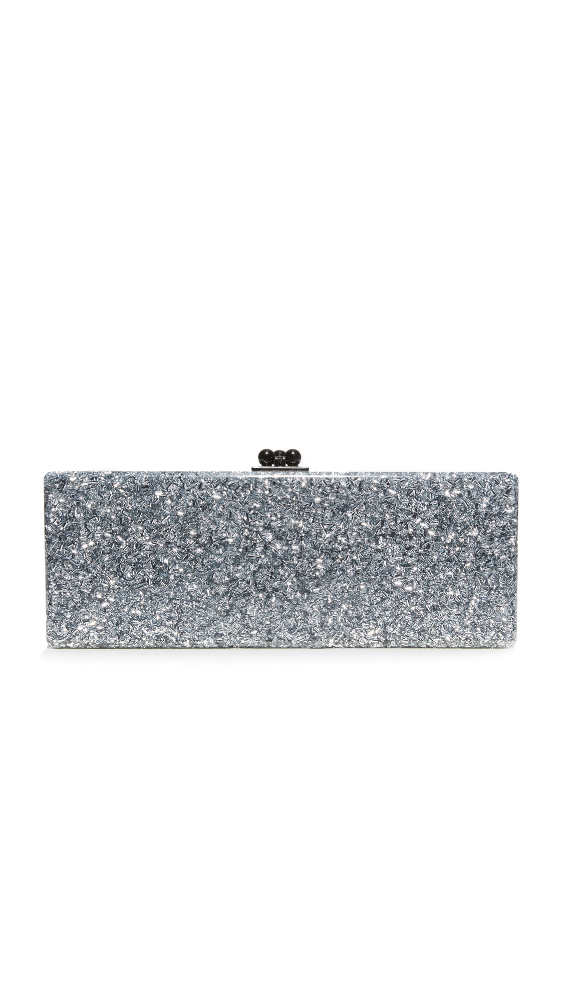 A luxe Edie Parker hardshell clutch, crafted from hand poured, glitter infused acrylic. Hinged construction with a polished kiss lock. The unlined interior has an inlaid vanity mirror with etched logo lettering. Dust bag included. Fabric: