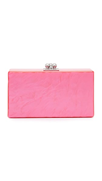 Edie Parker Jean Solid Clutch - Hot Pink Pearlescent