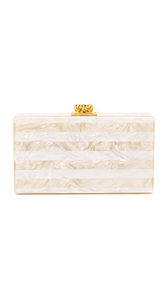 Edie Parker Jean Striped Clutch - Nude/White