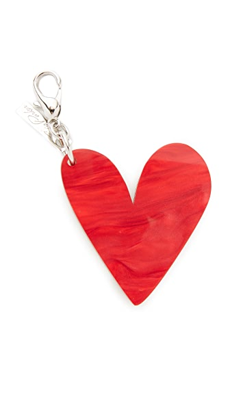 Edie Parker Heart Keychain - Gold/Red