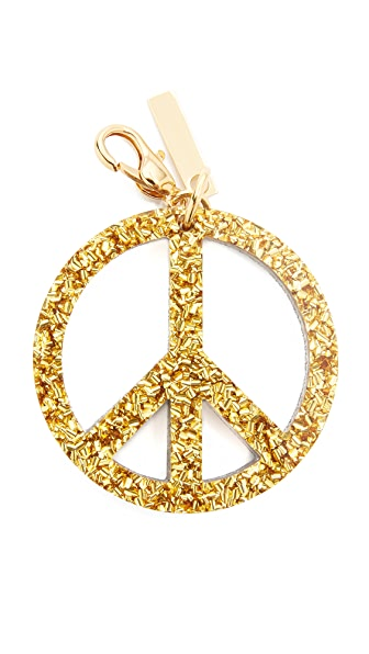 Edie Parker Peace Keychain - Gold/Silver