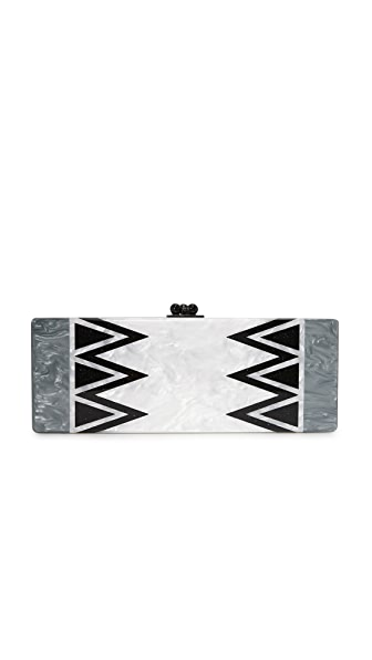 Edie Parker Flavia Symmetry Clutch - White Pearlescent