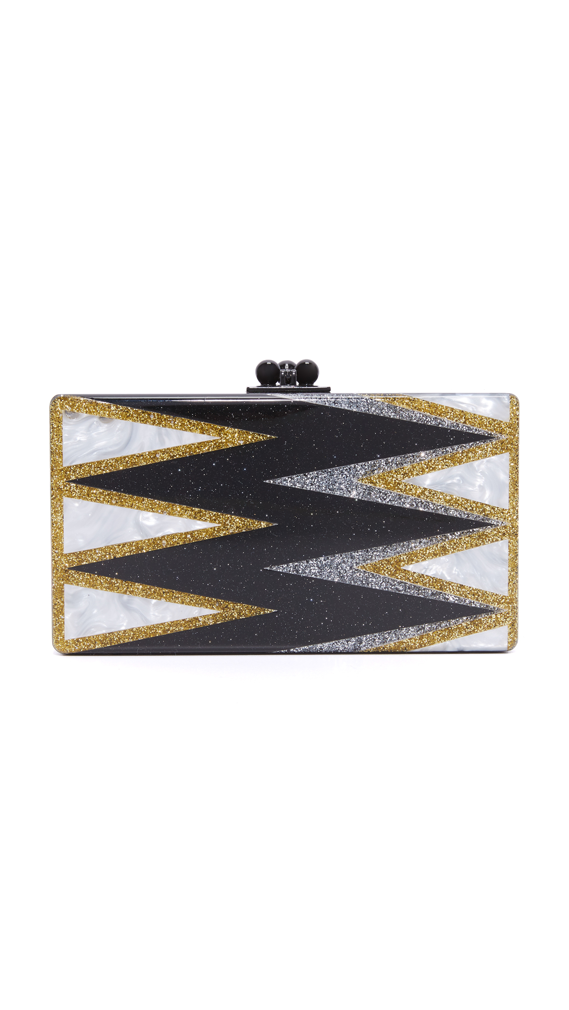 Pearlescent triangles create a zigzag effect on this glamorous, glitter infused Edie Parker clutch. Kiss lock clasp and hinge construction. Unlined interior with inset vanity mirror. Dust bag and cleaning cloth included. Fabric: Acrylic. Weight: 15oz / 0.43