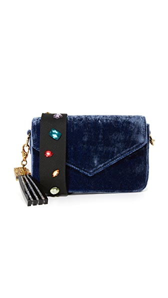 Edie Parker Melissa Crush Velvet Cross Body Bag