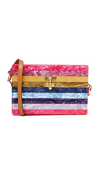 Edie Parker Small Trunk Striped Purse