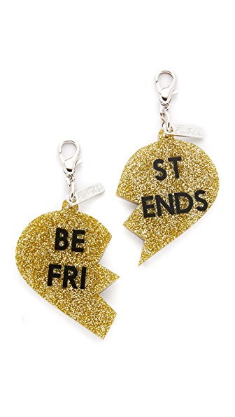Edie Parker Best Friend Charms In Silver Glitter/Gold Glitter