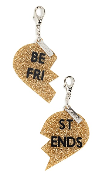 Edie Parker Best Friend Charms In Silver Glitter/Gold Glitter