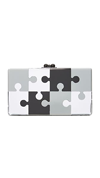Edie Parker Jean Puzzled Clutch - Black