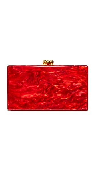 Edie Parker Jean Solid Clutch - Red Pearlescent